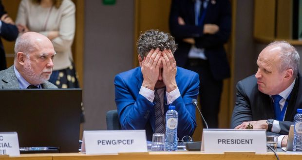 Euro group president Jeroen Dijsselbloem  covers his face prior to the start of a Euro group finance ministers' meeting at the European Council headquarters in Brussels on Monday. Photograph:  Stephanie Lecocq/EPA
