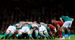 Conor Murray keeps a close eye on Rhys Webb during the Ireland-Wales match in the Six Naions. Photograph: James Crombie/Inpho