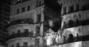 A file photograph from 1984 showing the the scene after an IRA exploded a bomb at the Grand Hotel in Brighton where most of the British cabinet were staying for the Conservative Party Conference. Photograph: PA