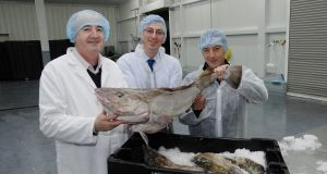 Castletownbere Fisherman's Co-op managing director John Nolan (left) with Paul Ward and Ismael Fogado of Spanish supermarket group Mercadona.