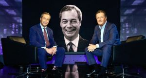 Piers Morgan and Nigel Farage: a pink sycophantic hippo-thing coaxing gibberish from the wide zip-like mouth of a yellow, goggle-eyed wonk