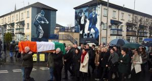 The coffin of Northern Ireland's former deputy first minister and ex-IRA commander Martin McGuinness is carried to his home in Derry. Photograph: Niall Carson/PA Wire