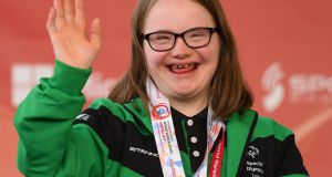 Team Ireland's Laoise Kenny, a member of Kilternan Karvers Special Olympics Club, from Monkstown, Co. Dublin. Photograph: Ray McManus/Sportsfile