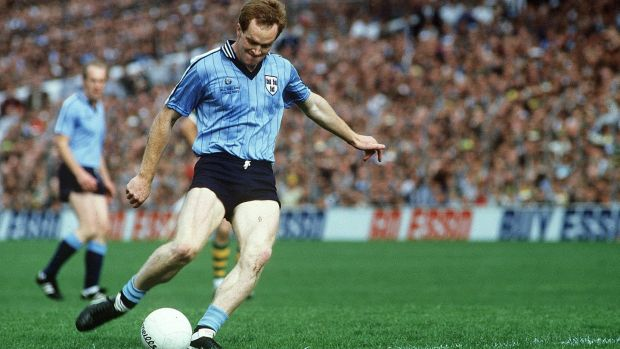 Barney Rock kicks a free for Dublin against Kerry in the 1985 All-Ireland SFC final. Photograph: Ray McManus/ Sportsfile