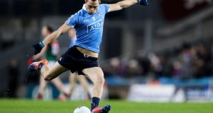 Dublin's Dean Rock scores a point from a free kick against Mayo in the Allianz League. Photograph: Tommy Dickson/Inpho