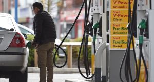 British annual inflation jumped in February to the highest level in almost three and a half years, driven by increasing fuel costs. Photograph:  Paul Ellis/AFP/Getty Images