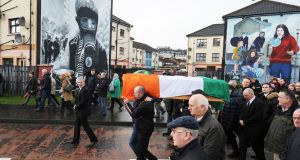 MARTIN MCGUINNESS: The coffin of former IRA leader Martin McGuinness is taken to his home in the Bogside area of Derry. The former deputy first minister died overnight aged 66. Photograph: Trevor McBride