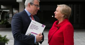 "AIB CEO Bernard Byrne and Tánaiste Frances Fitzgerald at the launch of the AIB and Irish Life report, ""Growth and Governance in the Nonprofit Sector"". Photograph: Shane O'Neill"