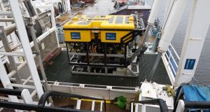 The Marine Institute's ROV Holland 1 which was lowered into around 40m of water this morning.
