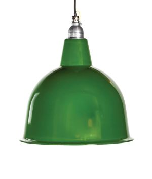 This scallion green enamel light pendant €92, ex delivery , will add a touch of freshness to your living area or would work well over a kitchen counter or dining table. Dousingandreynolds.com
