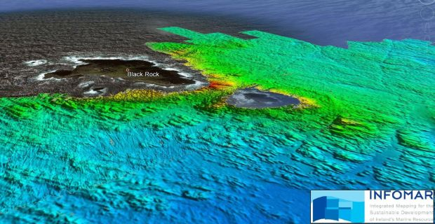 Above is a multibeam sonar image of the seabed around Blackrock island taken by INFOMAR, Ireland's National Seabed mapping Programme. This data will allow the Granuaille to get closer into Blackrock to deploy the ROV and divers.