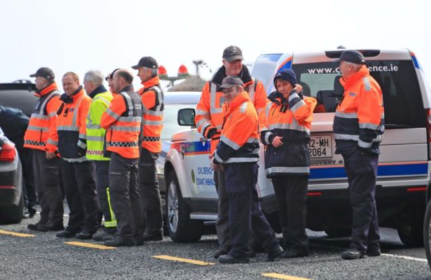Members of the Civil Defenvce and Coastguard involved in the search for Rescue 116 at Blacksod, Co Mayo. Photograph: Collins