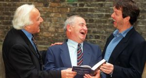 Colin Dextor with actors John Thaw (left) and Kevin Whateley, who starred in the Morse detective series. Photograph: Sean Dempsey/PA Wire