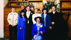 Paddy Armstrong and his wife Caroline and family at their wedding in 1998