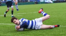 Michael Lowey of Blackrock College scores his side's try against St Michaels College during the Bank of Ireland Leinster Schools Junior Cup final at Donnybrook. Photograph: Photograph:Matt Browne/Sportsfile