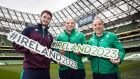 Pictured today at the official reception at Aviva Stadium as part of a two day site visit by the World Rugby Technical Review Group is (L-R) Jack Kelly (Ireland U20 Captain), Rory Best (Ireland Captain) and Niamh Briggs (Ireland Women's Captain). Photo: Billy Stickland/Inpho