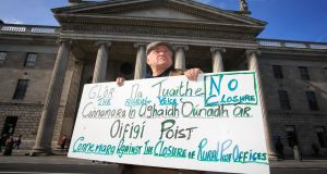 Postmaster Pádraic Ó Conghaile from Connemara protesting against post office closures outside GPO earlier this month. Photograph: Gareth Chaney Collins
