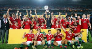 The successful Lions squad following the third Test win over Australia in Sydney in 2013. Photograph: Billy Stickland/Inpho