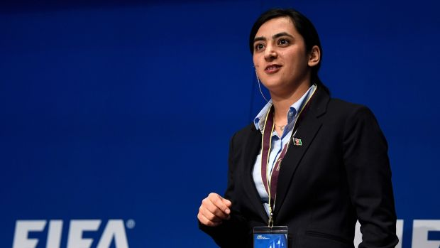 Popal speaks during the FIFA Annual Conference for Equality & Inclusion in Zurich. Photo: Getty Images