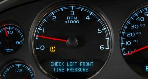 Tire Pressure Monitoring System (TPMS) alerts driver to low tyre pressure in a specific tyre