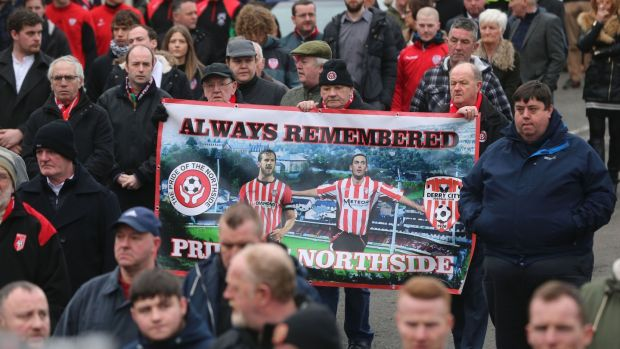 Mourners at the funeral of Derry City football captain Ryan McBride. Photograph: Niall Carson/PA Wire
