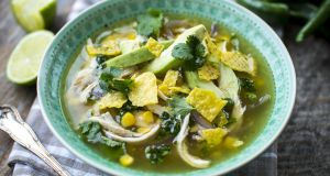Mexican-style chicken & sweetcorn soup