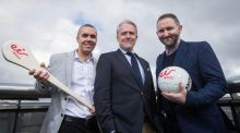 Dave McIntyre (eir Sport commentator), Brian Quinn (Marketing and operations director), and Ger Gilroy (eir Sport presenter) at eir Sport's launch of their new five year deal to broadcast live club championship games. Photograph: Inpho