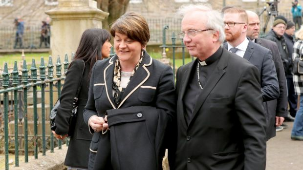 Arlene Foster and Bishop John McKeown arriving for the funeral of Northern Ireland's former deputy first minister and ex-IRA commander Martin McGuinness. Photograph: Niall Carson/PA Wire