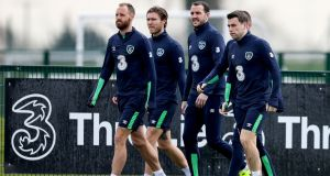 David Meyler, Jeff Hendrick, John O'Shea, James McCarthy and Seamus Coleman arrive for training at Abbotstown on Thursday. Photograph: Tommy Dickson/Inpho
