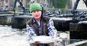 Gerry Seck, with first salmon of the season from the River Moy