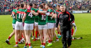 Mayo's manager Stephen Rochford with his team before defeat to Cavan  produced more worry. Photograph: James Crombie/Inpho