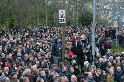 Section of the crowd at the Martin McGuinness Funeral,  Derry.   Photograph: Alan Betson / The Irish Times