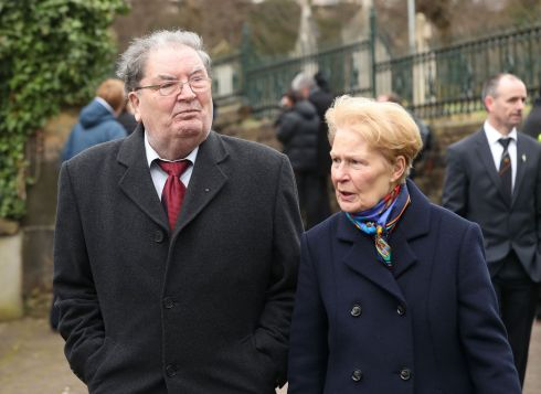 John Hume and wife Pat arriving for the funeral.  Photograph: Niall Carson/PA