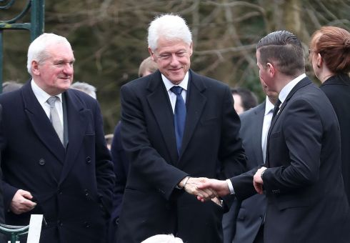 Former US president Bill Clinton and former taoiseach Bertie Ahern arriving for the funeral. Photograph: Niall Carson/PA