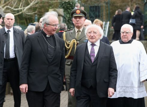 President Michael D Higgins  arriving for the funeral. Photograph: Niall Carson/PA