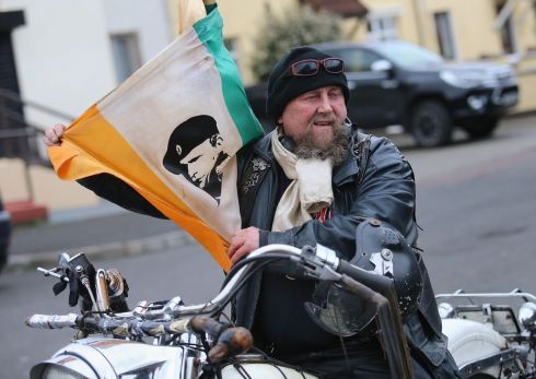 Derry biker Martin Doherty during the funeral procession. Photograph: Thomas McMullan/PA