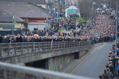 The funeral cortege en route to the church.  Photograph: Alan Betson / The Irish Times