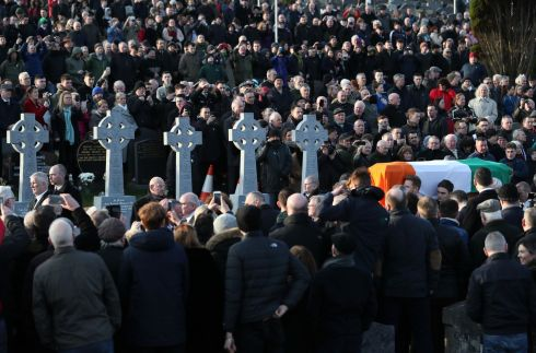 The coffin of Northern Ireland's former deputy first minister and ex-IRA commander Martin McGuinness is carried into Derry City Cemetery.  Photograph: Brian Lawless/PA