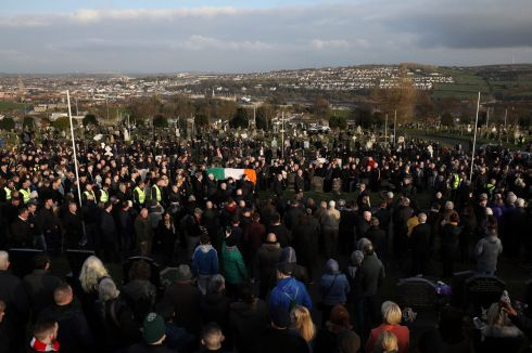 The coffin of the late Martin McGuinness is carried into Derry City Cemetery.  Photograph: Dan Kitwood/Getty Images