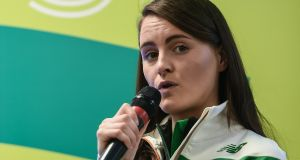 Athlete Ciara Mageean speaking at the Sport Ireland's Anti-Doping Annual Review for 2016 on Thursday. Photograph: Seb Daly/Sportsfile.