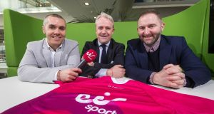 Dave McIntyre, eir Sport commentator, Brian Quinn, marketing and operations director, and Ger Gilroy,  eir Sport presenter at the announcement of the company's five year deal to broadcast live club football and hurling championship games. Photograph: Inpho
