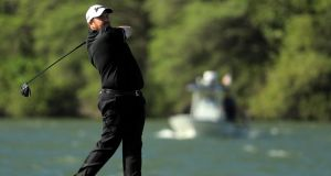 Ireland's  Shane Lowry  tees off on the 14th hole during  his match against Spain's John Rahm at the WGC-Dell Technologies Match Play at the Austin Country Club  in Austin, Texas. Photograph: Richard Heathcote/Getty Images