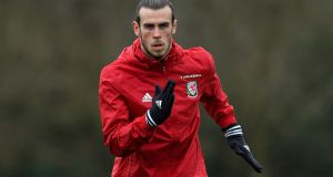 Wales player Gareth Bale in action during a Wales open training session ahead of their World Cup Qualifier against the Republic of Ireland. Photograph: Stu Forster/Getty Images