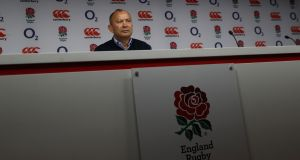 Eddie Jones, the England head coach, faces the media at Twickenham Stadium earlier this week. Photograph:  David Rogers/Getty Images