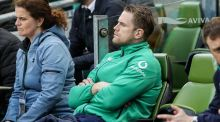 Ireland's Jamie Heaslip, who was a late withdrawl from the game, watches Ireland beat England. Photograph: Billy Stickland/Inpho