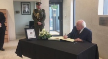 President and Taoiseach sign book of condolence for victims of Westminster attack