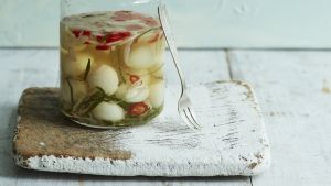 Pickled quail eggs: best served with  stir-fried cashews