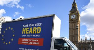 A van promoting an EU march passes parliament in London. The UK's impending departure will require Dublin to make a fundamental shift in how it positions itself at European level. Photograph:  EPA/Andy Rain