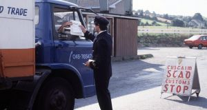 Customs control outside Newry, Co Down, in 1981. Photograph: Pacemaker