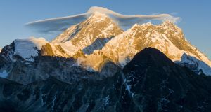 The spectacular sight of Mount Everest at sunset. Photograph: Frank Bienewald/LightRocket via Getty Images